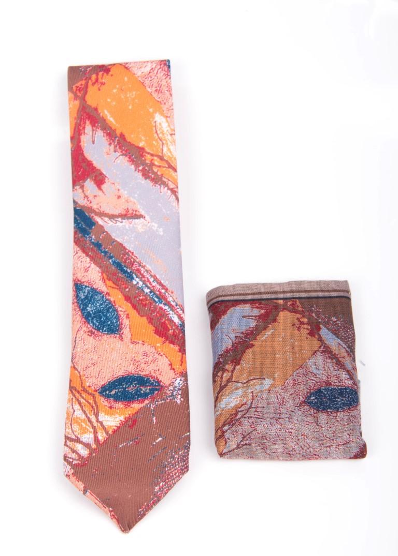 cravata multicolora cu batista