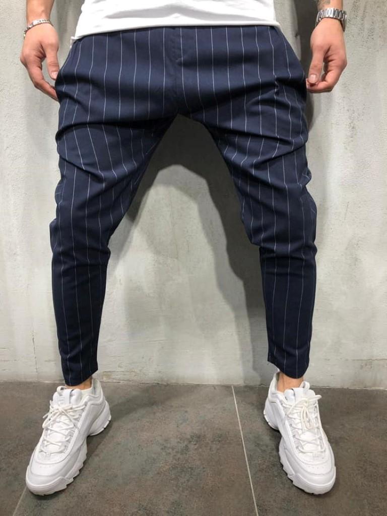 b2765451b901 Pantaloni casual barbati dungi bleumarin conici Street Edition 2019 ...