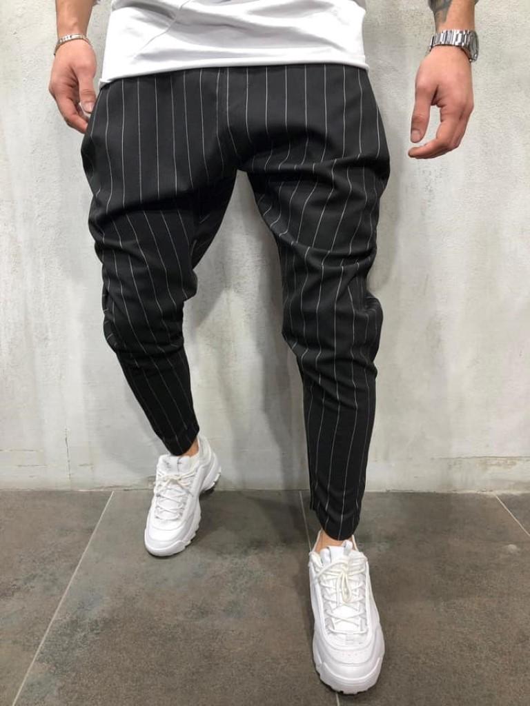5abf4c20589a Pantaloni casual barbati dungi negri conici Street Edition 2019 ...